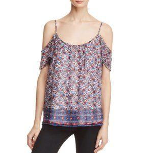 Joie Adorlee Cold-Shoulder Floral Print Silk Top